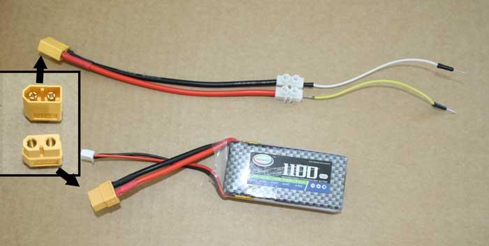 Cable que hemos preparado para conectar la batería de LIPO