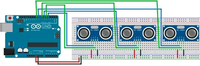 Esquema de conexión de 3 sensores HC-SR04 con la placa Arduino