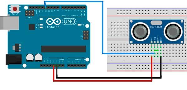 Esquema de conexión del HC-SR04 con la placa Arduino utilizando un solo pin