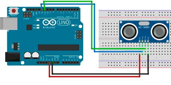 Esquema de conexión del HC-SR04 con la placa Arduino